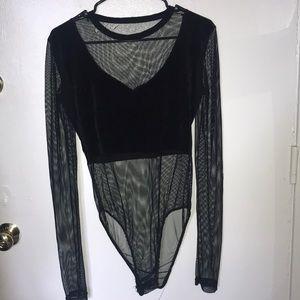 Tops - Velvet and fishnet bodysuit.